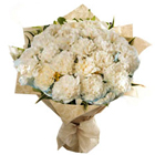 Pristine White Carnations Bunch to Bangalore