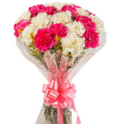 Exquisite Bouquet of White N Pink Carnations to Alapuzha