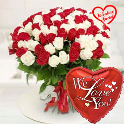 Vivid Magnificence Red  N  White Roses Premium Bouquet to Cochin
