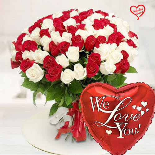 Vivid Magnificence Red  N  White Roses Premium Bou... to Chittoor