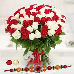 Glowing Marvel Red N White Roses Premium Bouquet with Rakhi to Chandrapur