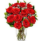 Joyful Luxury Red Rose Bouquet in a Glass Vase to Hyderabad