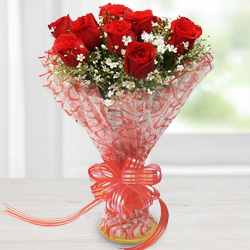 Lovely Red Roses Bouquet to Surat