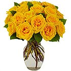 Ornamental Bundle of Yellow Roses in a Glass Vase to Alwar