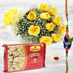 Romantic Morning Yellow Roses Glory with 200 gms. Soan Papdi and one pc. Rakhi to Bhiwadi