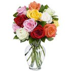 Touching Bouquet of Mixed Roses in a Glass Vase to Thane