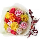 Impressive Selection of One Dozen Colorful Roses Bouquet to Akola