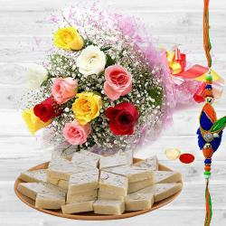 Unique You are Always Special Premium Bouquet with 250 Kaju Katli and Rakhi to Mandia