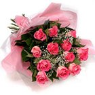Embracing Pureness Pink Roses Bouquet to Aligarh