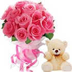 Delightful One Dozen Pink Roses Bouquet with Soft Teddy Bear to Bhilai