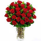 True Romantic Dark Red Rose Selection in a Glass Vase to Bhatinda