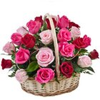 Exquisite Thinking of You 15 Pink N Red Roses in Basket to Mysore