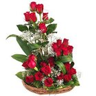 Dazzling Presentation of 25 Dutch Red Roses in a Basket to Gurgaon