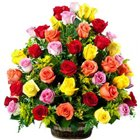Delightful Celebration of Mixed Roses in Basket to Baraut