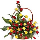 Blossoming Charm of Red N Yellow Roses in a Basket to Chirala