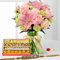 Lively Bunch of Amazing Flowers with 250 Assorted Sweets with One pc. Rakhi to Aligarh
