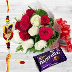 Magnificent Rosy Ecstasy One Dairy Milk (13 gms.) with One pc. Rakhi to Ajmer