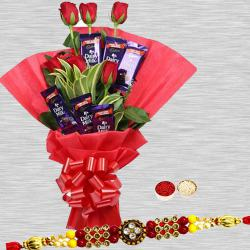 Sublime Love Treat Conclave of Red Rose and Cadbury Chocolates With Rakhi to Ajmer