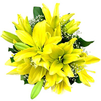 Sunshine Yellow Lilies Bouquet to Bangalore