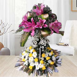Double Deck Arrangement of Lilies, Roses N Chrysanthemum to Aleppy