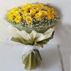 Brilliant 25 Yellow Roses Bouquet to Belgaum