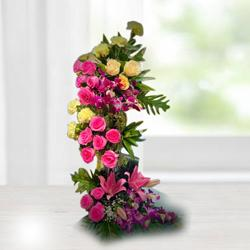 Distinctive Standing Arrangement of Assorted Flowers to Aleppy