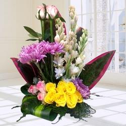 Beautiful Arrangement of Assorted Flowers to Akola