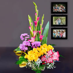 Gorgeous Mixed Flowers Arrangement with Chocolates to Adilabad