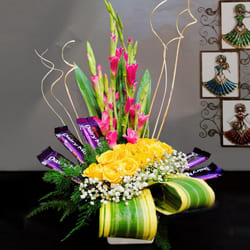 Cheerful Arrangement of Mixed Flowers with Cadbury Chocolate to Adilabad