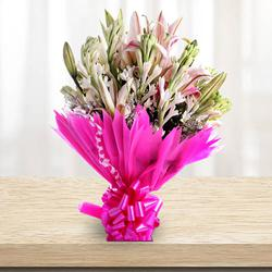 Lovely Bouquet of Lilies and Gladiolus to Ahmedabad