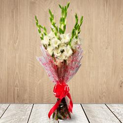Gorgeous White Gladiolus Bouquet to Ahmedabad