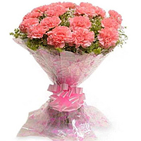 Send Online this good looking Hand Bunch of Pink Carnations to Warangal