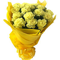 Click to send online this good looking Bunch of Yellow Carnations in a tissue wrap to Thane