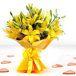 Vibrant Yellow Color Lilies Bunch