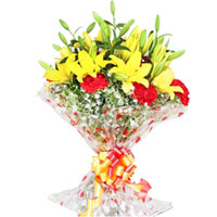 Charming Bouquet of Yellow Lilies N Red Carnations