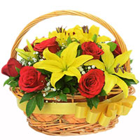 Beautiful Basket of Yellow Lilies & Red Roses
