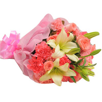 Exotic Bouquet of Pink Roses with Pink Carnations and Lily Stems to Amalampuram