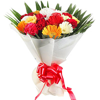 Brilliant Bunch of Carnations with Gerberas and Roses to Surat