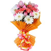 Ravishing Carnations with Roses nd Gerberas Bunch to Adilabad