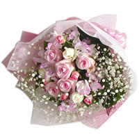 Brilliant White N Pink Roses Bookey with Filler Flowers 