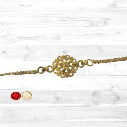 Elegant Gold Plated Rakhi to Nakoda