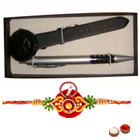 Black Wrist Watch with Pen and Rakhi to India