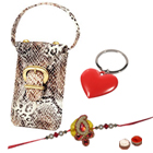 Crystal Key Ring with Black Mobile Bag and Rakhi to Bangalore