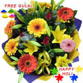 Nicely Gift Wrapped Colourful Flowers Bouquet  for Holi with free Gulal/Abir Pouch.
