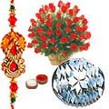 Lovely Red Roses with Kaju katli and  Free Rakhi, Roli Tika, Chawal to Aligarh