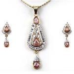 Remarkable Light Brown Stone Studded Jewelry Set to Bhavani