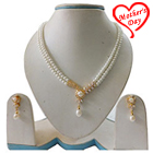 Smart Looking single Drop Pendant Double Chain Pearl Set with Earrings to Agra