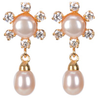 Trendy AD Studded Flower Shaped Pearls Earrings to Yamunanagar