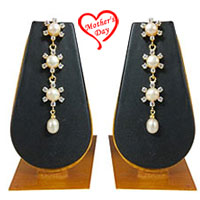 Glamorous Drop Earrings with 3 Layer of Floral Pattern  N  4 White Pearls with AD Stones to Miraz