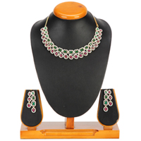 Flaunting Fancy Necklace with Earrings Set to Ambur